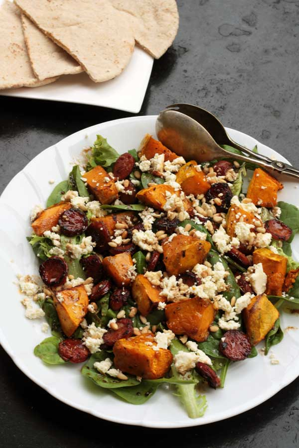 Pumpkin, chorizo and feta salad
