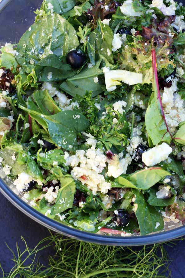 A corner of a glass bowl of quinoa salad with feta, fennel and blueberries from above on a black background