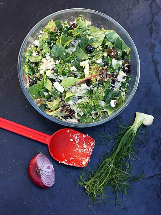 A glass bowl of quinoa salad with feta, fennel and blueberries on a black background from above and with a red plastic spoon and veggie scraps