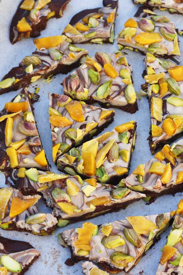 Mango & pistachio chocolate bark
