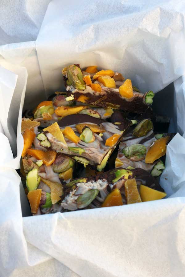 mango and pistachio chocolate bark