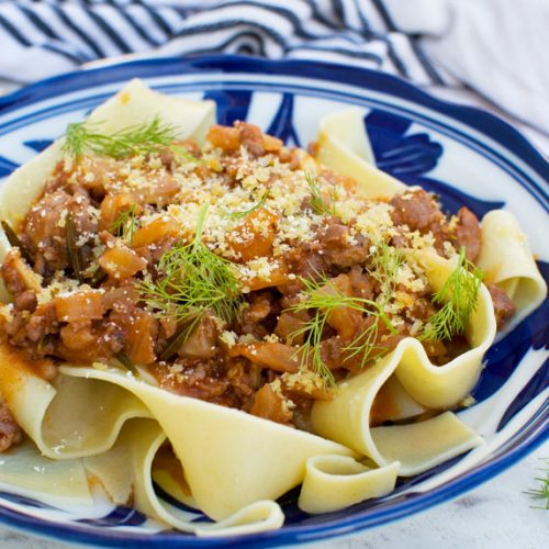6-ingredient sausage ragu sauce (stove top or pressure cooker)
