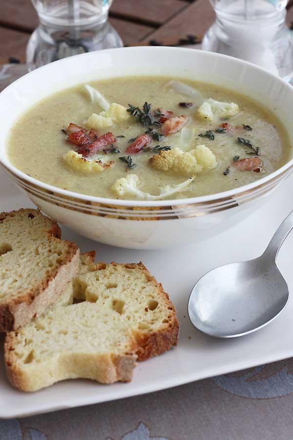 Roasted cauliflower and pancetta soup