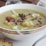 Roasted cauliflower and pancetta soup