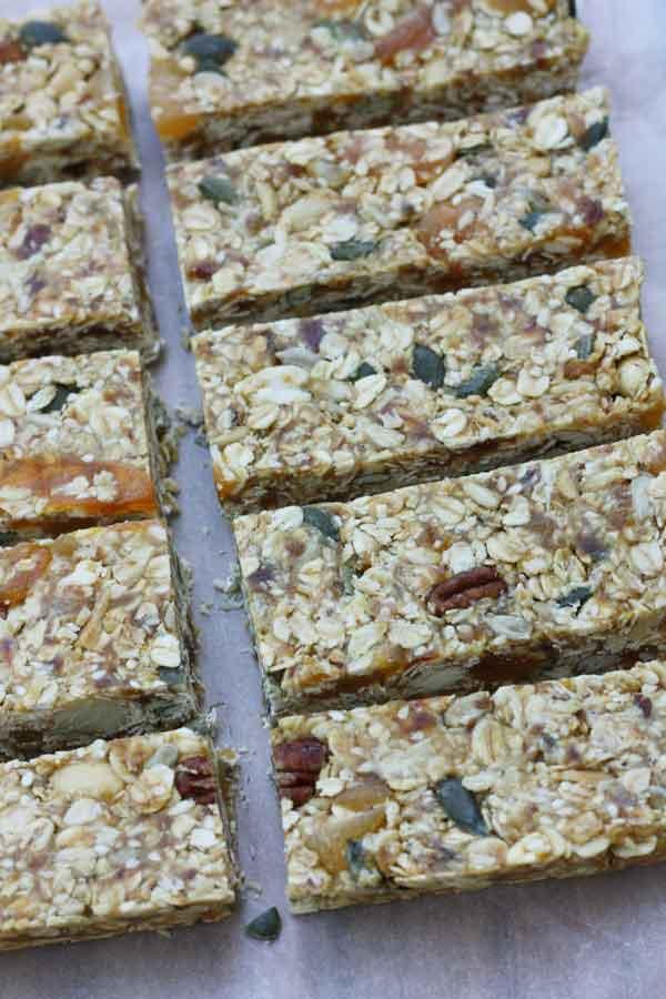 Pecan, apricot & maple no-bake granola bars