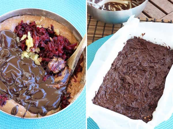 making beetroot & ginger brownies