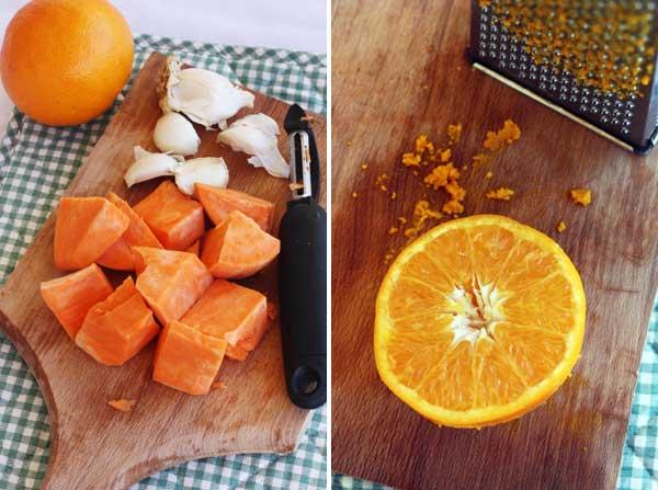 Making sausage, sweet potato & orange tray-bake