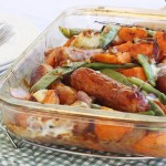 Sausage, sweet potato & orange tray-bake