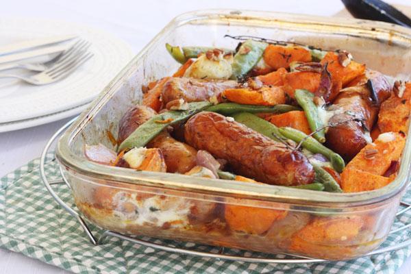 Sausage, sweet potato & orange tray-bake