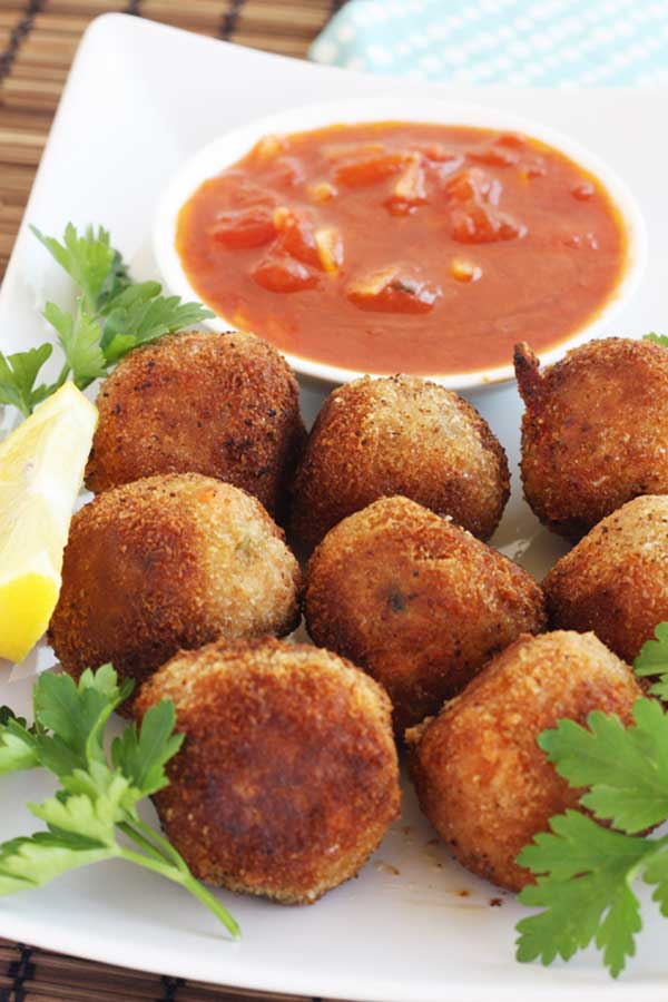 Leftover risotto arancini with marinara sauce