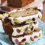 Banana & pistachio loaf with white chocolate cream cheese frosting (gluten free)