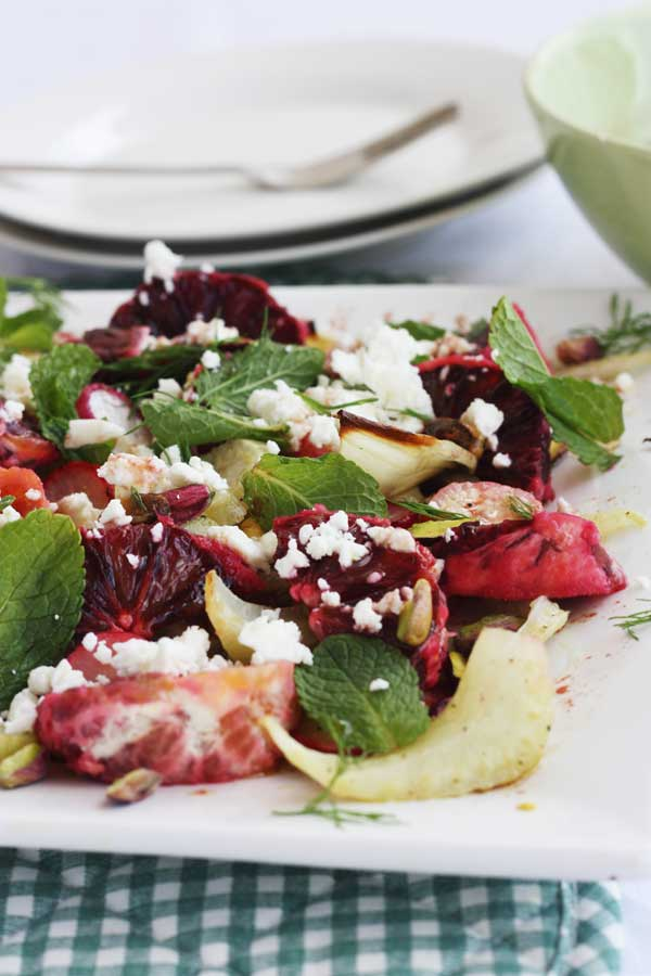 Blood orange and roasted fennel & radish salad