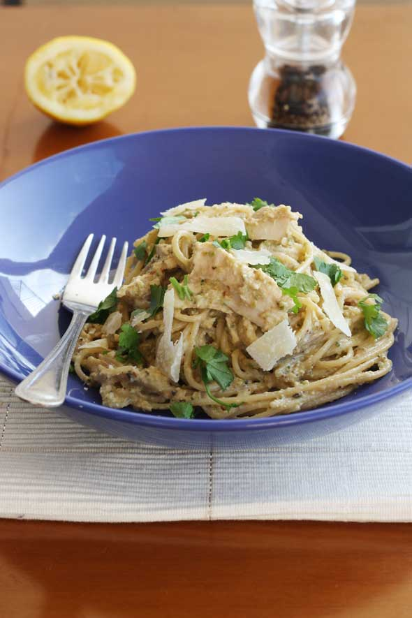 Aubergine, courgette, walnut & chicken pesto spaghetti