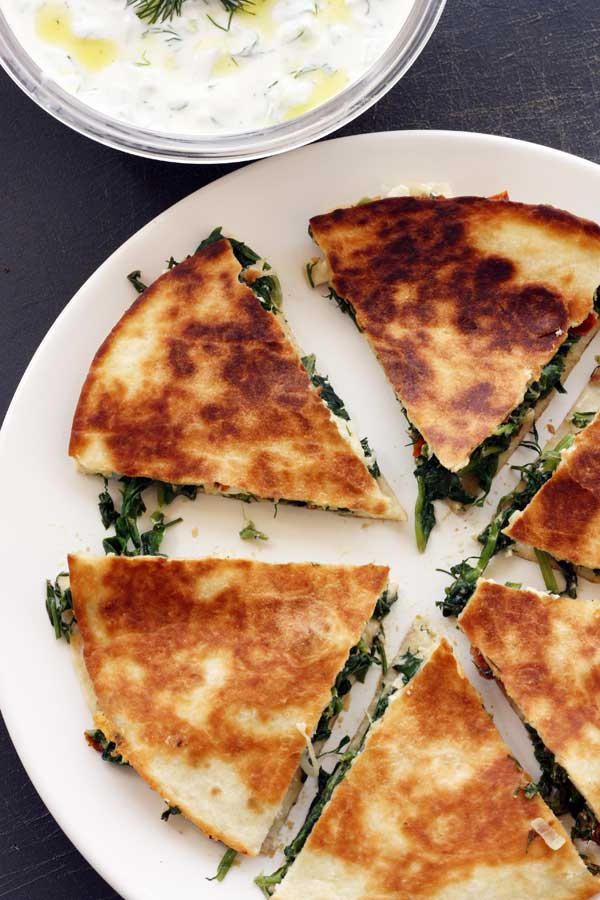 Greek quesadillas with tsatziki from Scrummy Lane