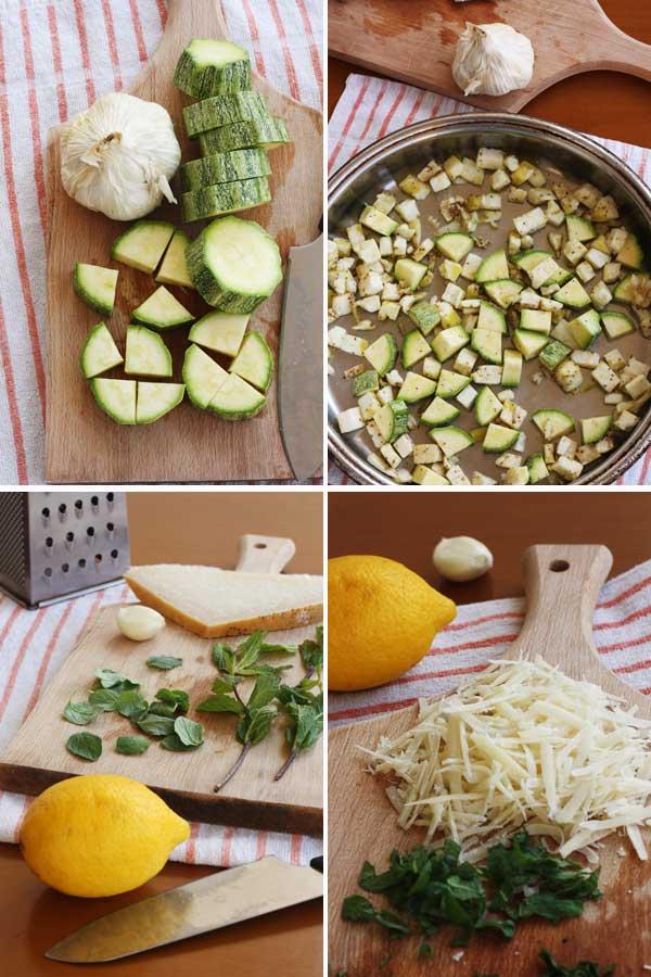 Making Aubergine, courgette & walnut pesto spaghetti