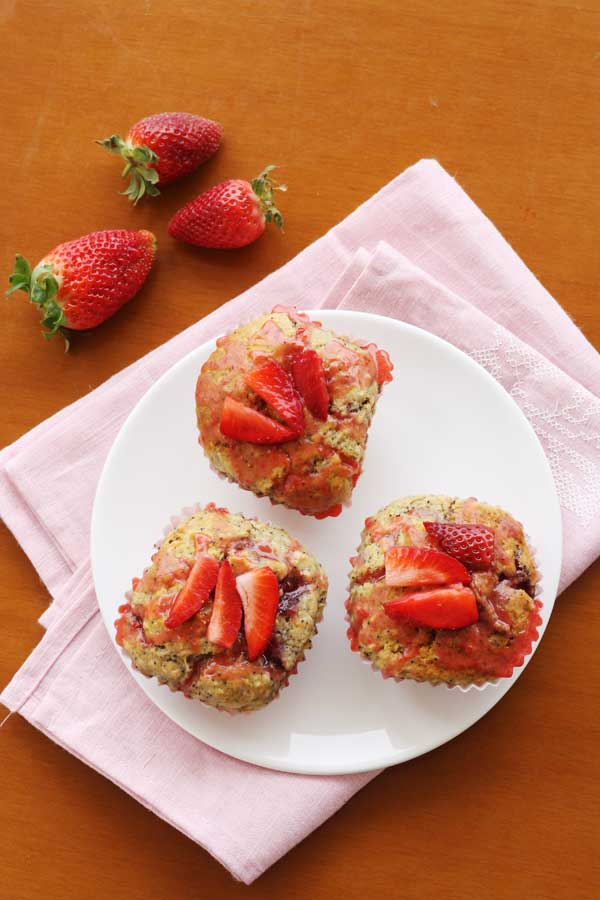 Strawberry poppy seed ricotta muffins from Scrummy Lane