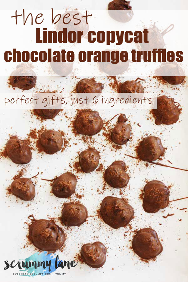A Pinterest image of chocolate orange truffles from above on a white background