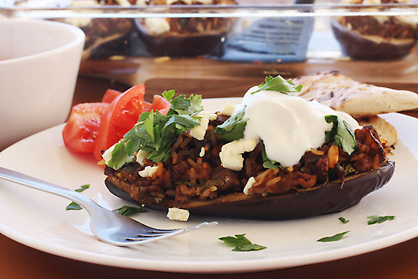 Greek stuffed 'little shoes'- aubergines stuffed with mince meat & topped with feta cheese - from Scrummy Lane