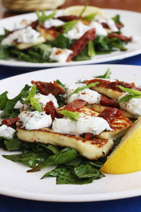 Minty halloumi & sundried tomato salad with honey-balsamic spinach from Scrummy Lane