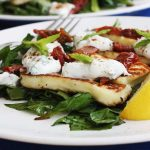 Minty halloumi & sundried tomato salad with honey-balsamic spinach