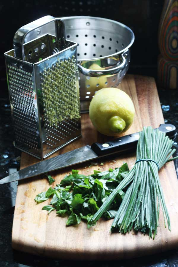 Lemon & herbs for a pasta dish