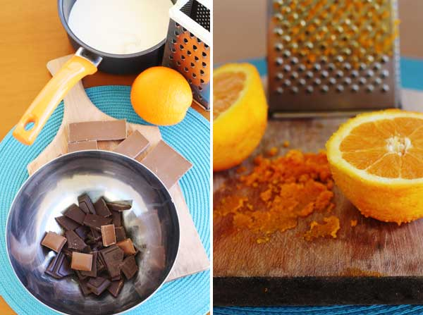 2 images showing how to make chocolate orange truffles
