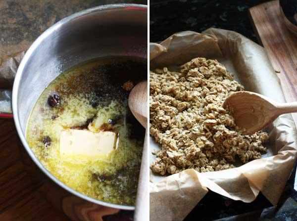 Making rhubarb & ginger oaty slices
