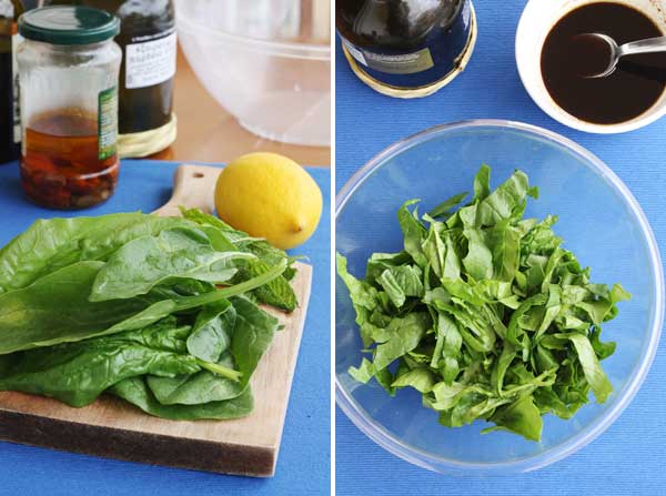 collage of 2 images showing chopped spinach on a chopping board and in a bowl