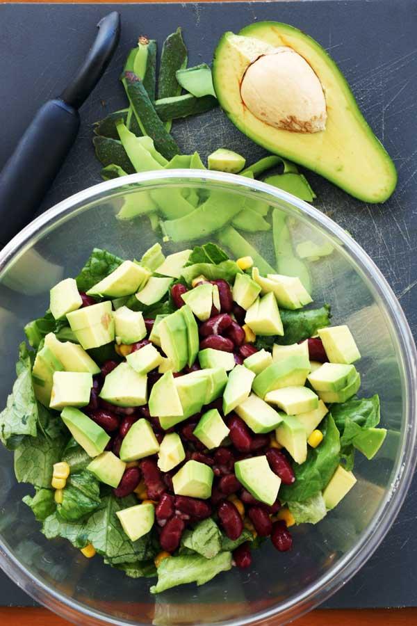 Making super tasty mango chicken salad with avocado, kidney beans & blue cheese from Scrummy Lane
