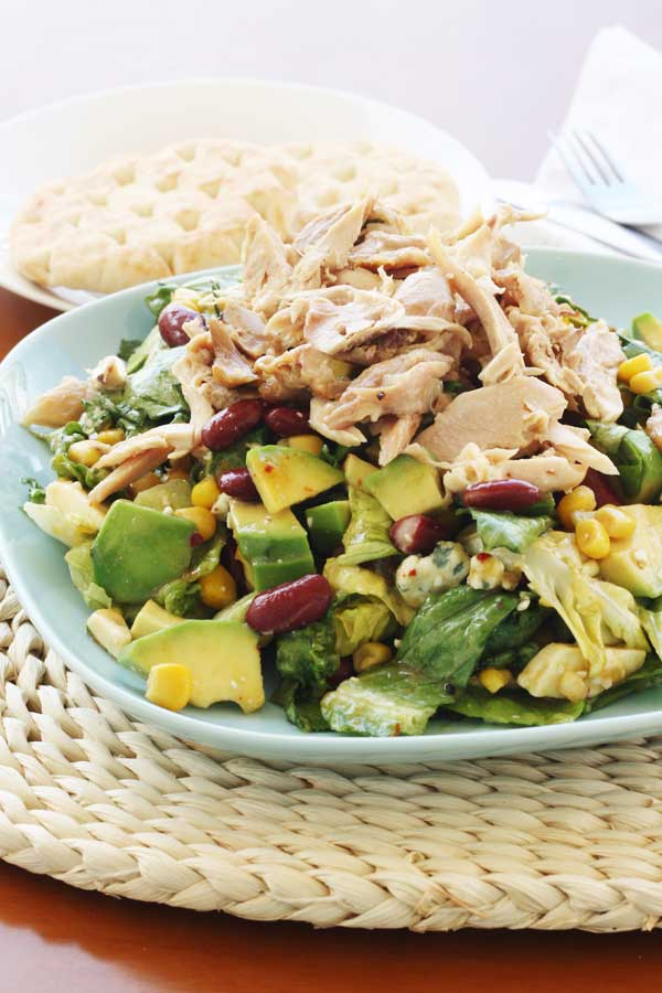 Mango chicken salad with avocado, kidney beans & blue cheese - Scrummy ...