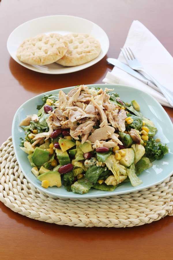 Super tasty mango chicken salad with avocado, kidney beans & blue cheese from Scrummy Lane