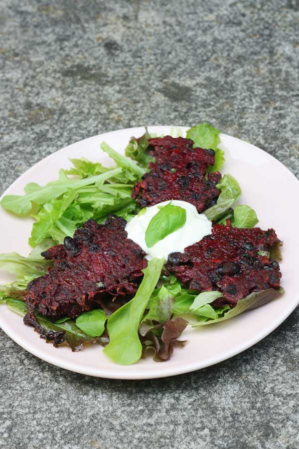 Spicy beetroot & black bean fritters two ways by Scrummy Lane