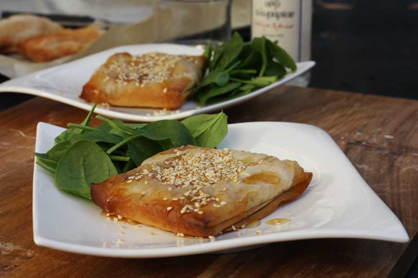 Feta and honey filo pies by Scrummy Lane