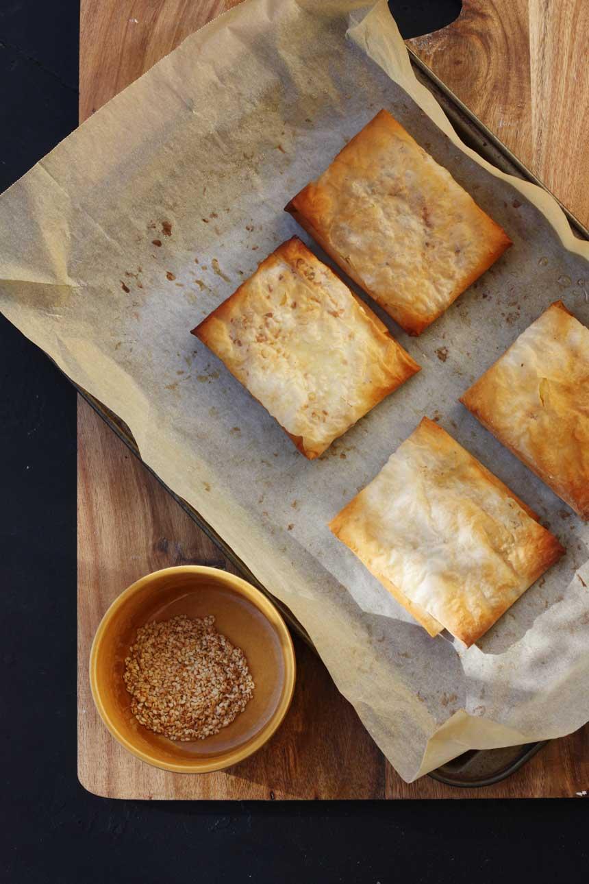 Feta and honey filo pies by Scrummy Lane