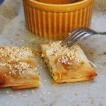 Feta filo pies with honey