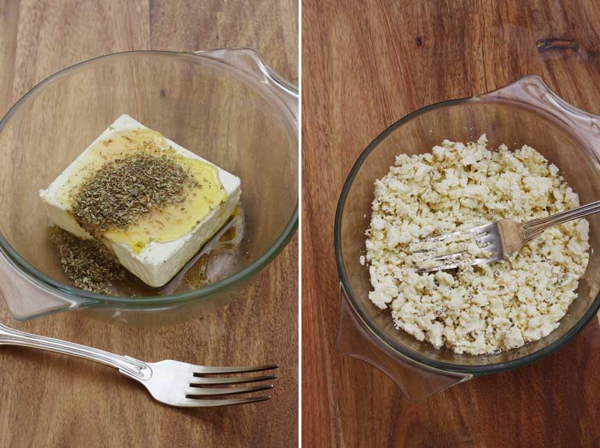 Feta cheese mashed with honey