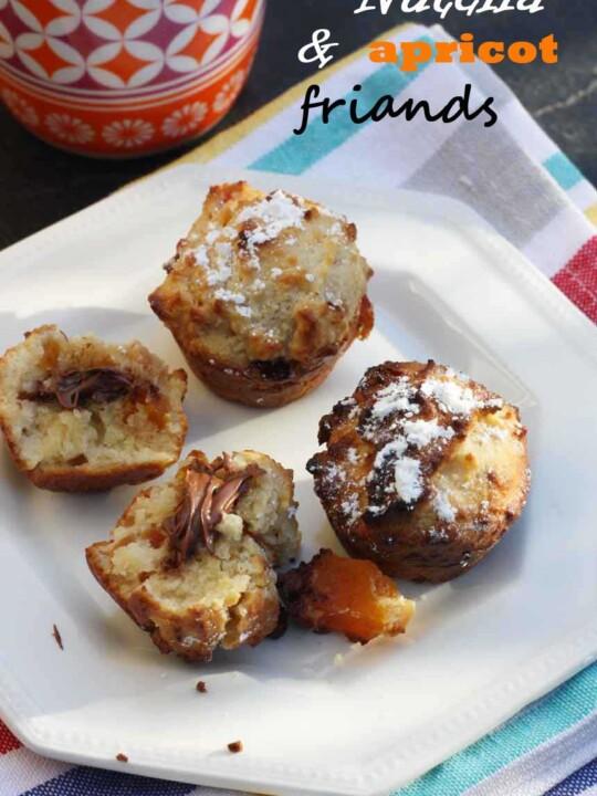 Little Nutella-stuffed apricot friands by Scrummy Lane