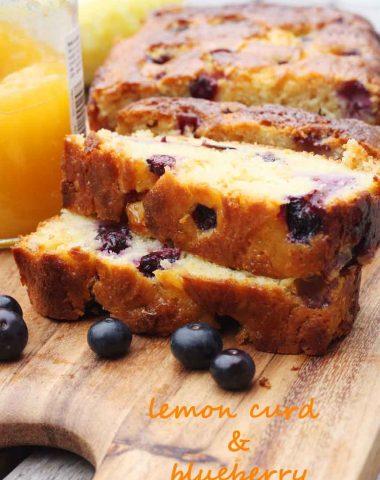 Sticky lemon curd & blueberry cake