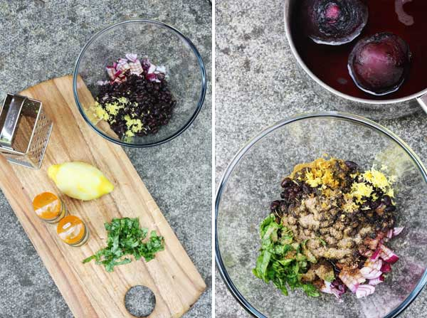 making spicy beetroot & black bean fritters two ways by Scrummy Lane
