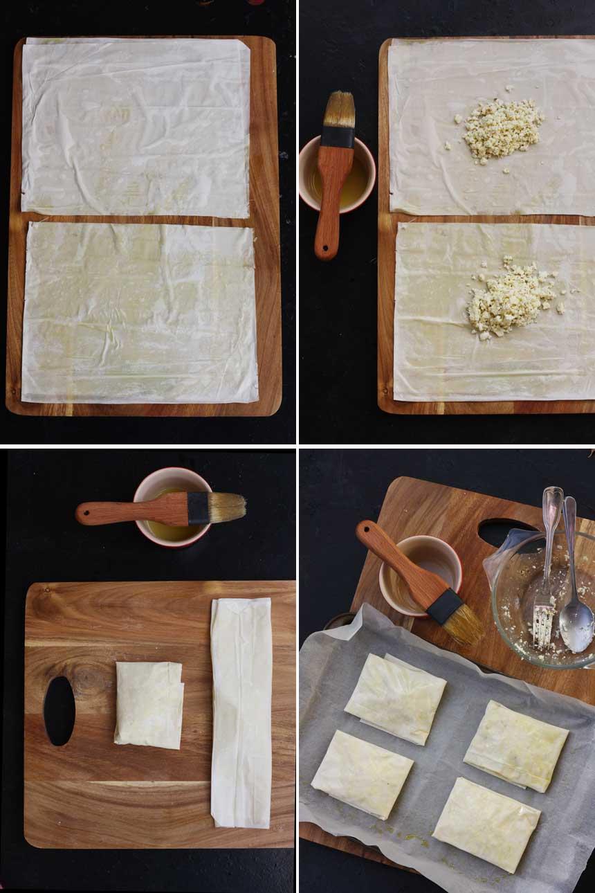 Making feta and honey filo pies