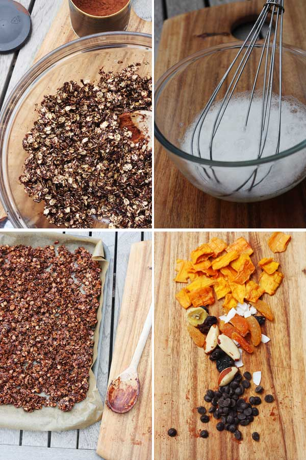 Making tropical chocolate granola