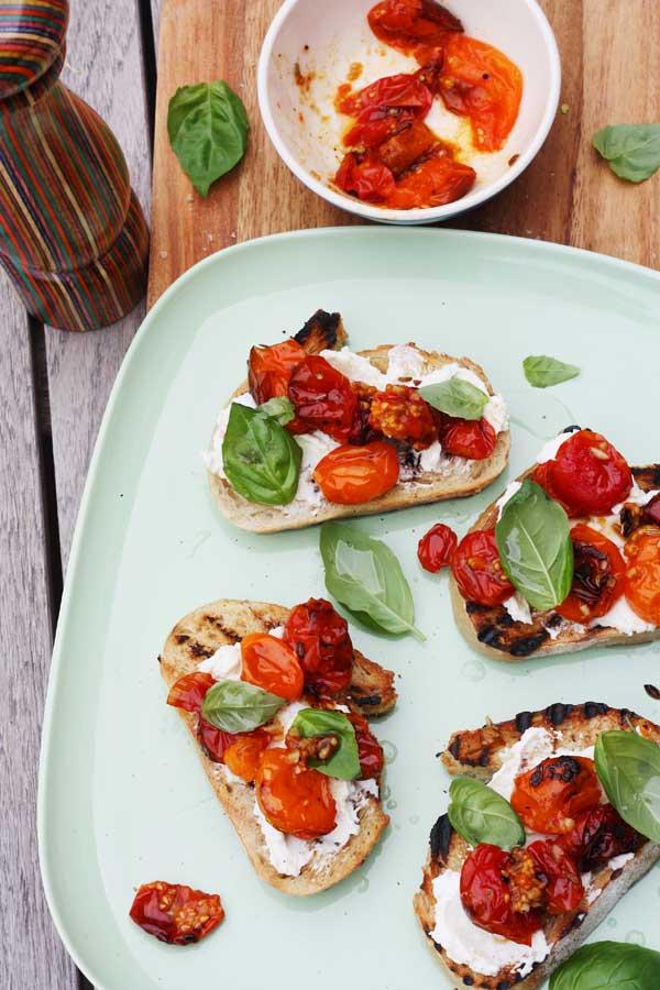 Slow Roasted Tomato Ricotta Bruschetta By Scrummy Lane