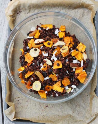 Tropical chocolate granola by Scrummy Lane