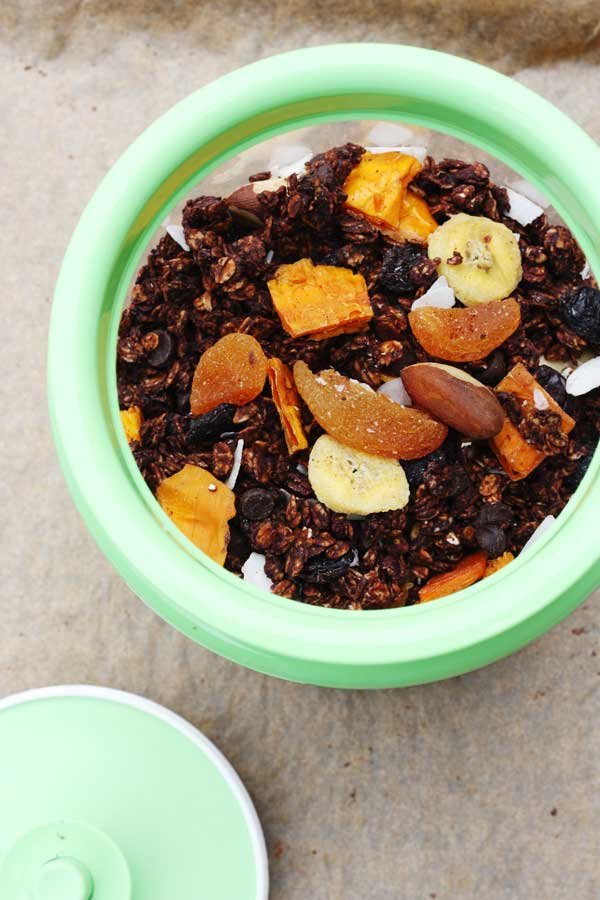 Never buy sugar-laden granola again! Tropical chocolate granola from Scrummy Lane.