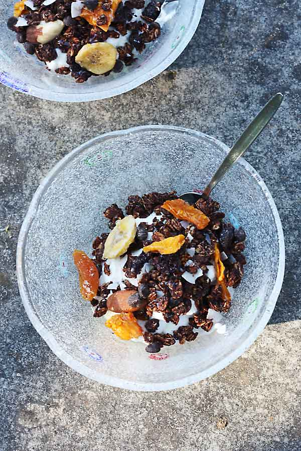 Never buy sugar-laden granola again! Tropical chocolate granola from Scrummy Lane.