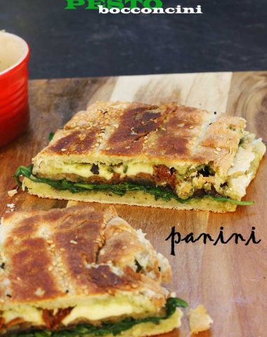 weekend brunch: roasted eggplant, pesto & bocconcini panini