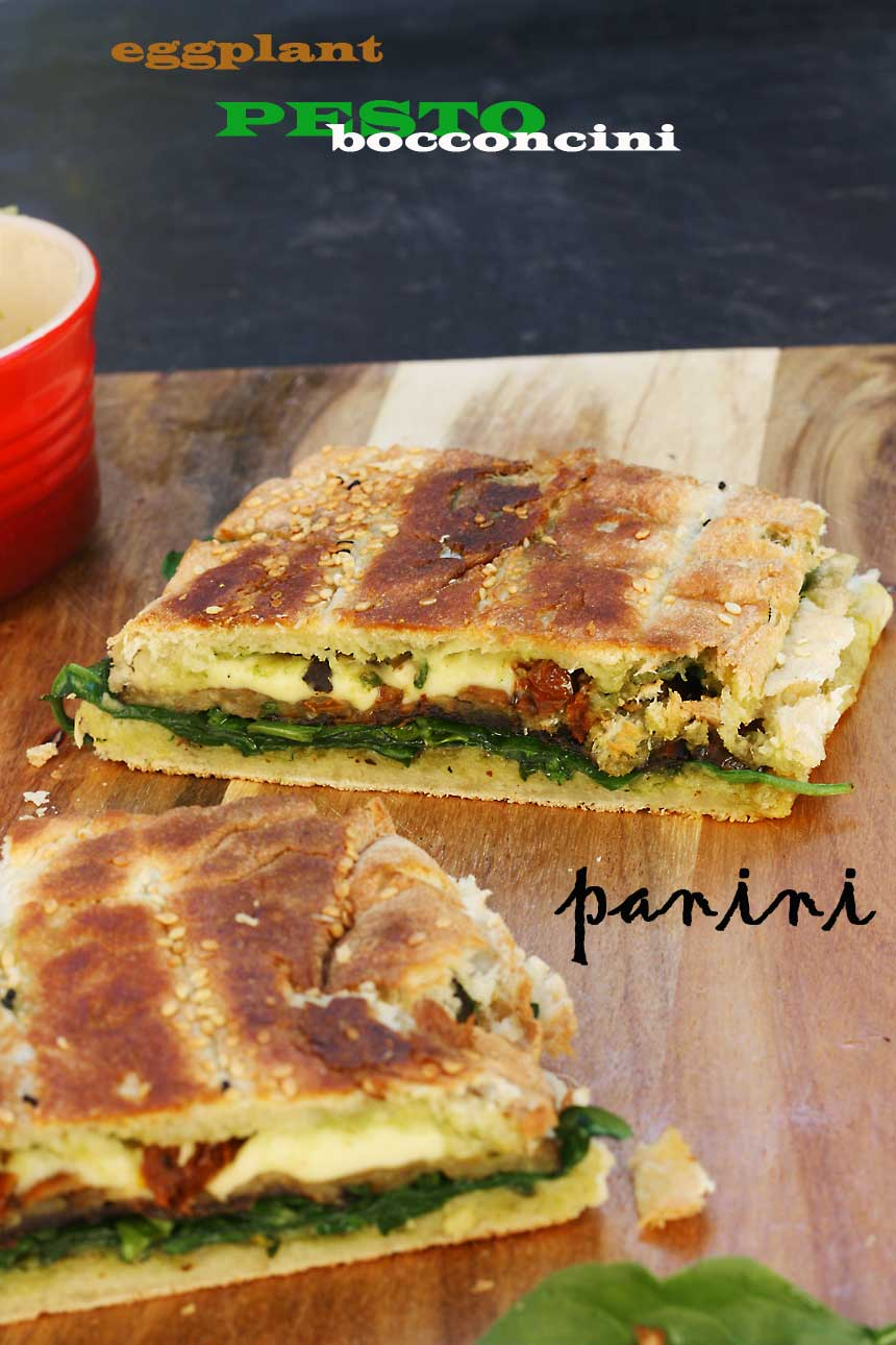 Eggplant, pesto and bocconcini panini - perfect for a relaxed weekend brunch! By Scrummy Lane.