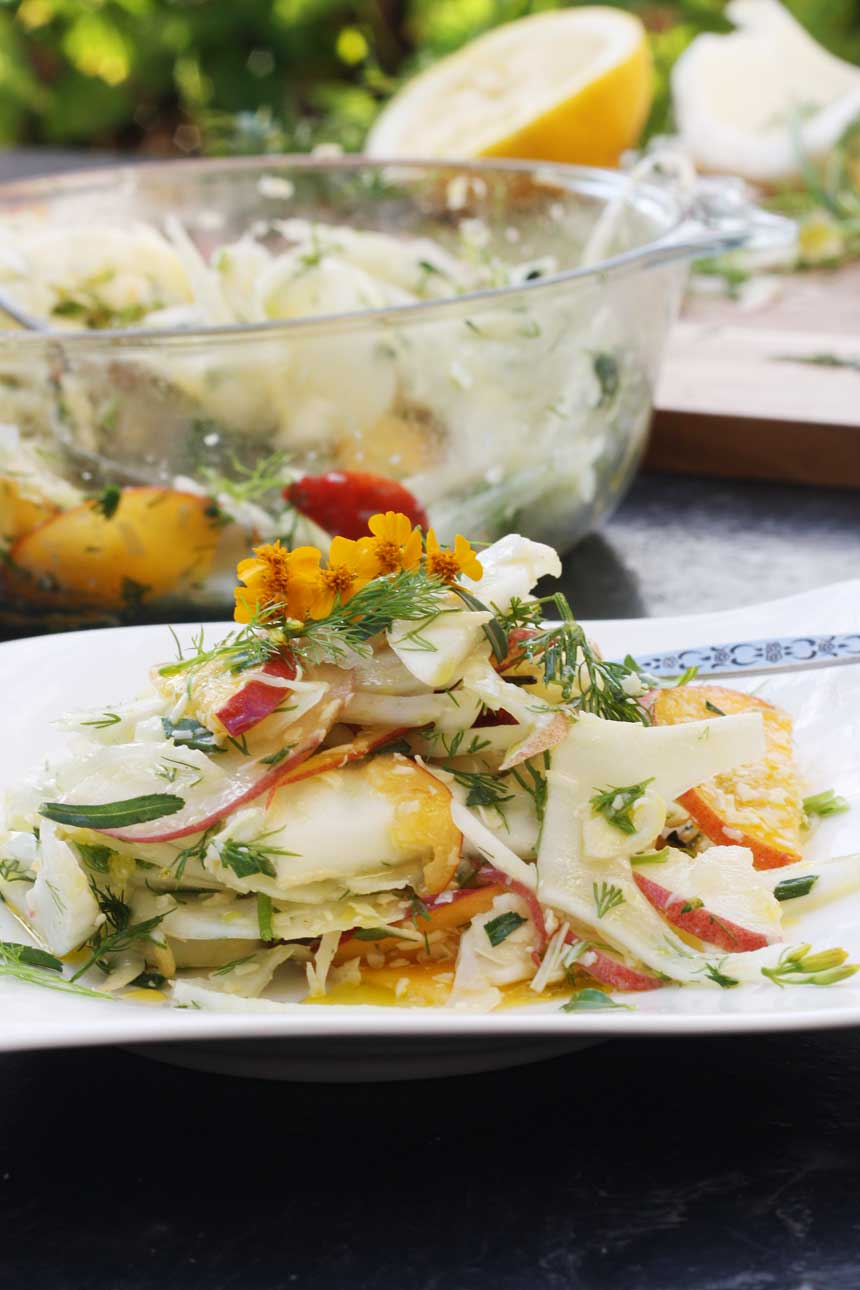 Fennel, peach & parmesan salad by Scrummy Lane