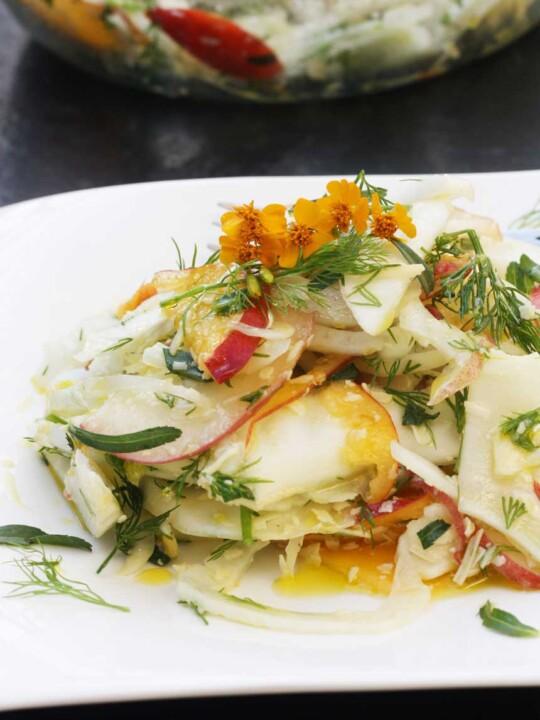 Fennel, peach and parmesan salad by Scrummy Lane