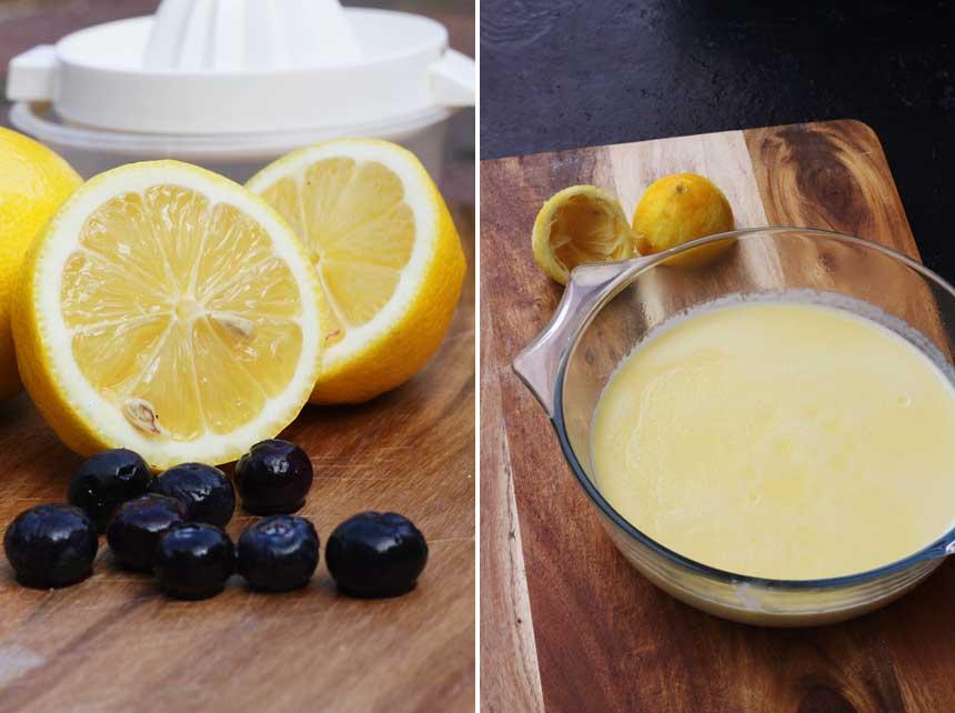 Making lemon posset with blueberries
